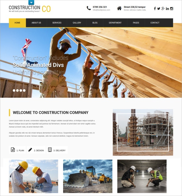 Professional Construction WordPress Website Theme $39