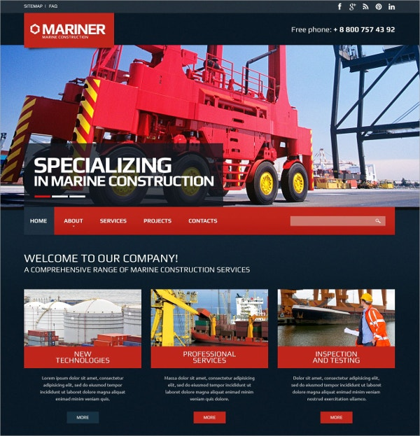 Premium Construction Company Website Template $75