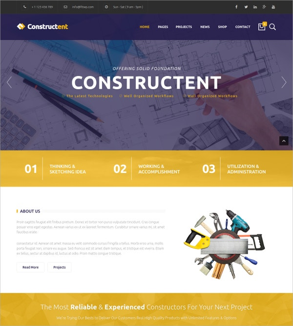 Responsive Construction Agency WP Theme $59