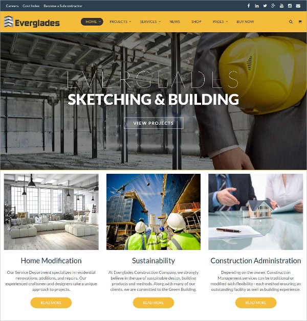 Construction Portfolio WordPress Website Theme $59