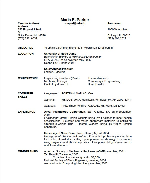 Resume For Engineers Sample Freshers