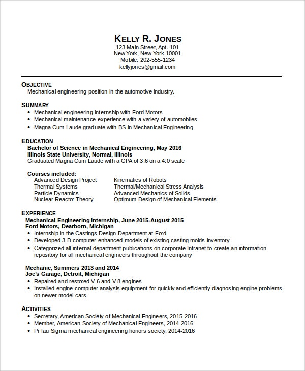 mechanical engineering resume for internship - Experienced Mechanical Engineer Sample Resume