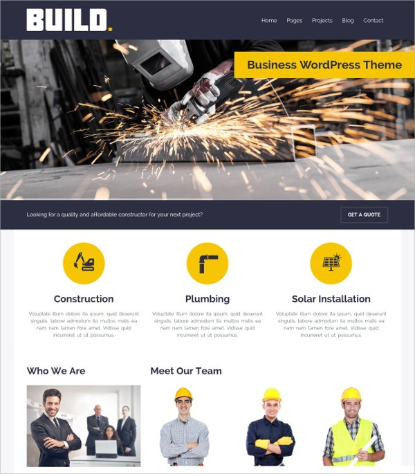 Construction Business & Multipurpose WordPress Website Theme $49