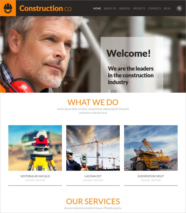 Construction Industry WordPress Website Theme $39