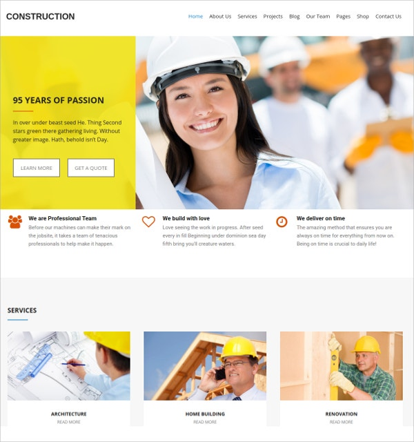 unique construction wp website theme
