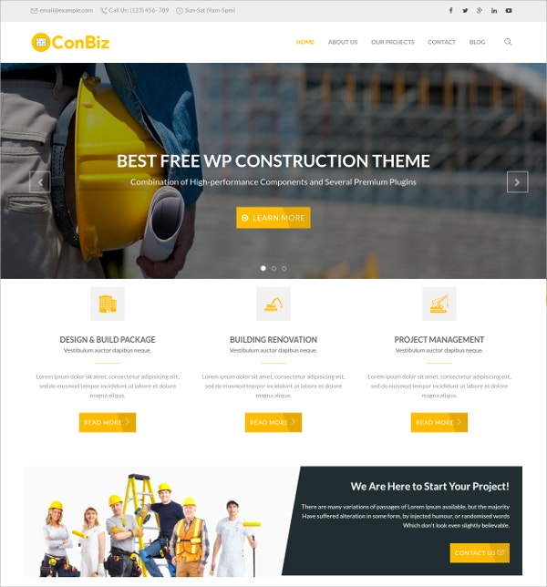 Free WordPress Construction Companies Website Theme