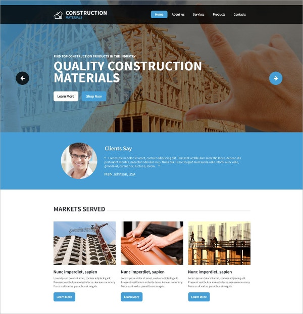 Construction Company Website Template $75