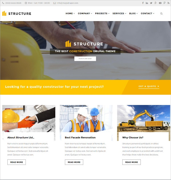 Modern Construction WP Website Theme $49
