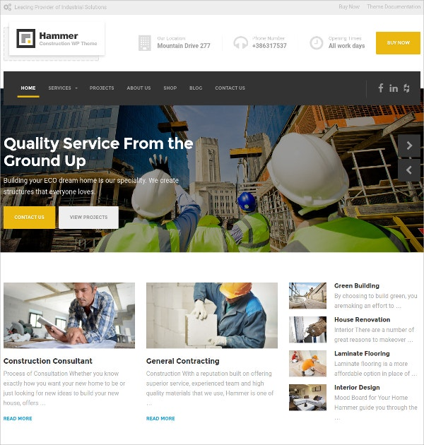 Corporate Construction WP Website Theme $59