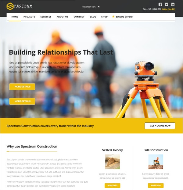 Modern Construction WordPress Website Theme $58