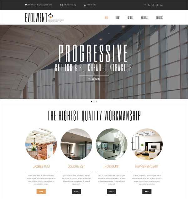 Interior Design Construction Website Template $75