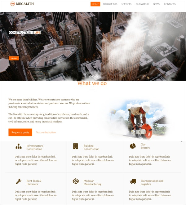 modern design construction website theme