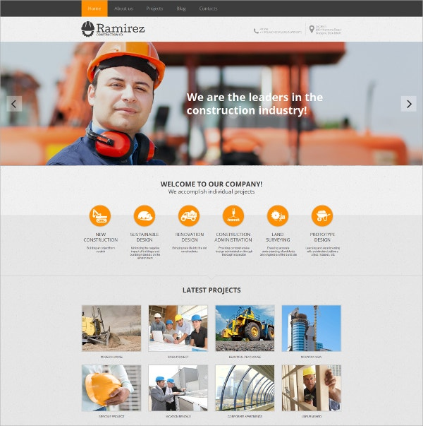 Construction Company HTML Website Template $139