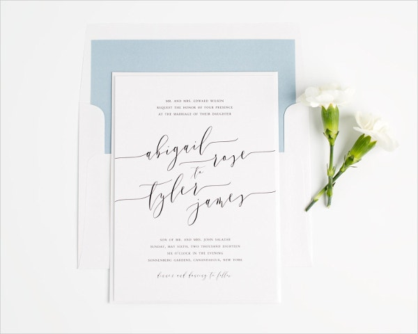 Romantic Calligraphy Wedding Invitation