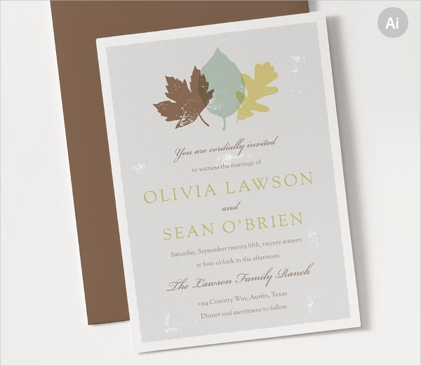 Autumn Wedding Invitation Template
