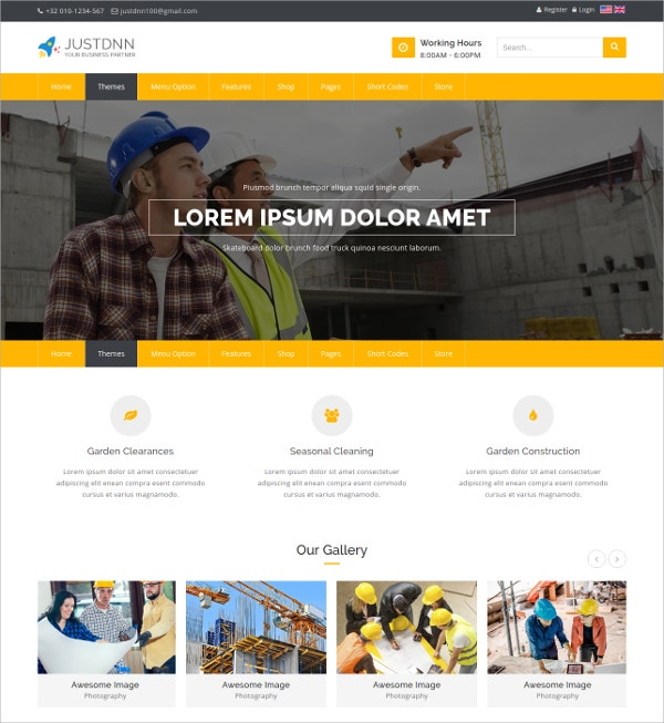 Business Construction Parallax Website Theme