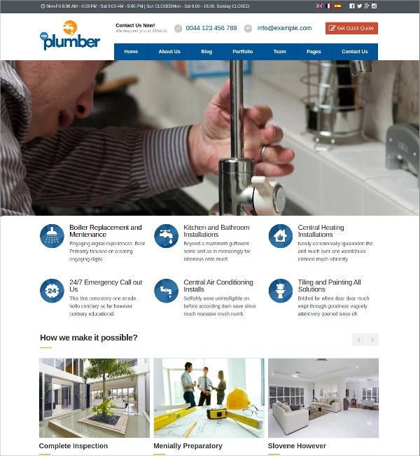 Plumber Building & Construction WordPress Website Theme $44