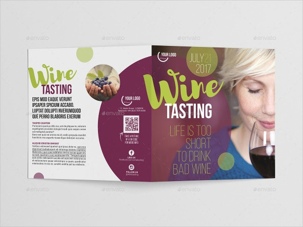 Wine Square Bi-Fold Brochure