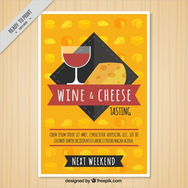 Wine & Cheese Brochure Free Vector