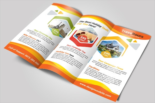 travel advertising trifold brochure