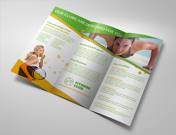 sports gym tri fold brochure template