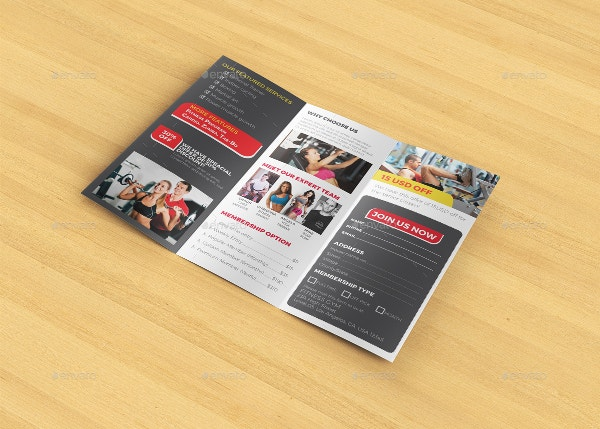 trifold brochure for gym1