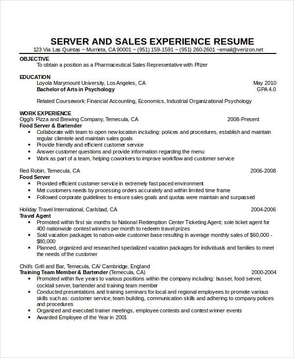 cocktail waitress resume - Cocktail Waitress Resume Sample