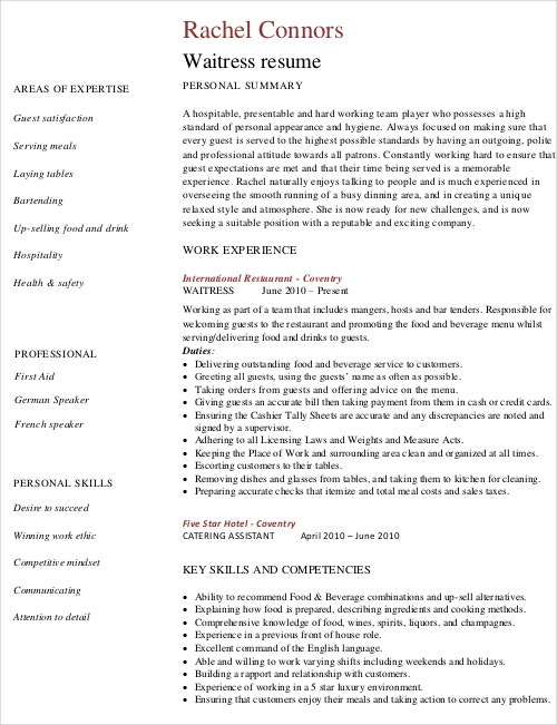 Resume For Restaurant Waitress  Resume For Restaurant