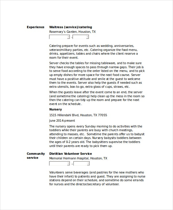 Waitress Resume Template 6 Free Word PDF Document Downloads – Waiter Resume