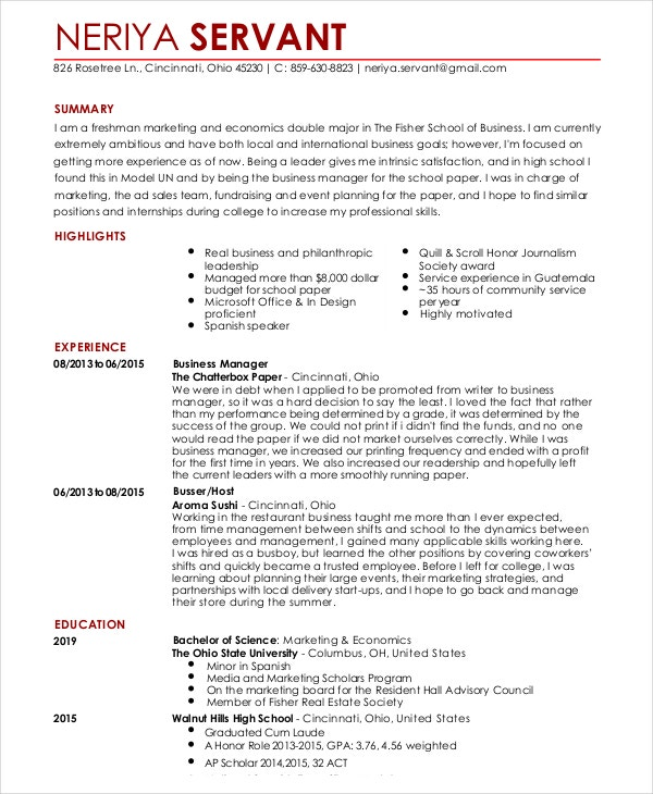 resume for a waitress