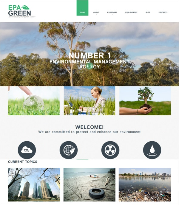 Environmental Mobile WordPress Website Theme $39