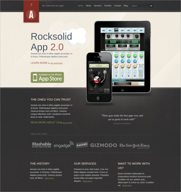 mobile app showcase wordpress website theme