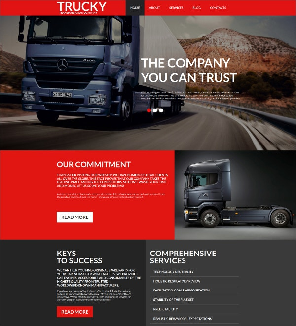 Trucking Moto Mobile HTML Website Template $139