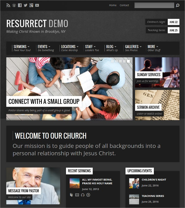 Urban Inspired WordPress Theme For Church Website