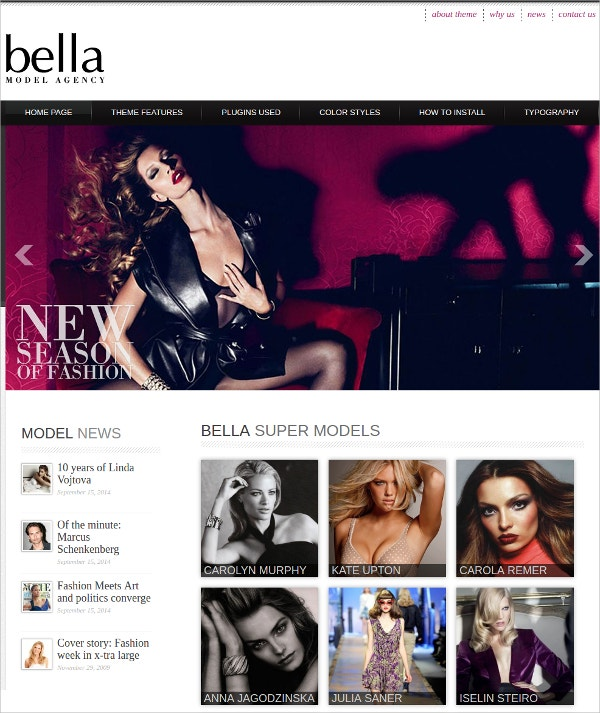 Model Agency Mobile Website Theme $39