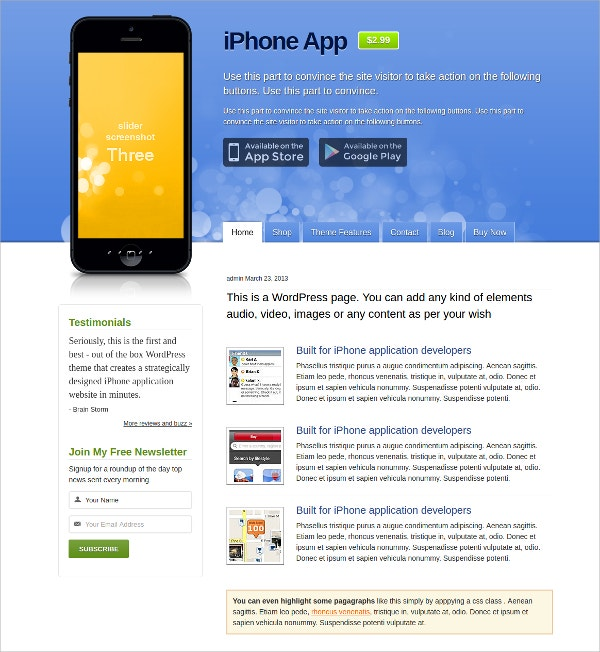 mobile iphone app wordpress website theme