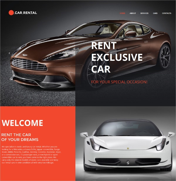 Car Rental Mobile HTML Website Template $139