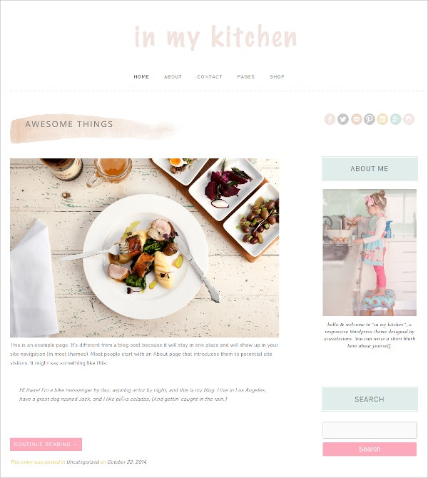 Restaurant Mobile Responsive WordPress Website Theme $12