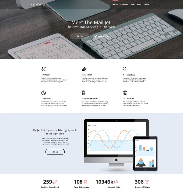 email services mobile html website template 139