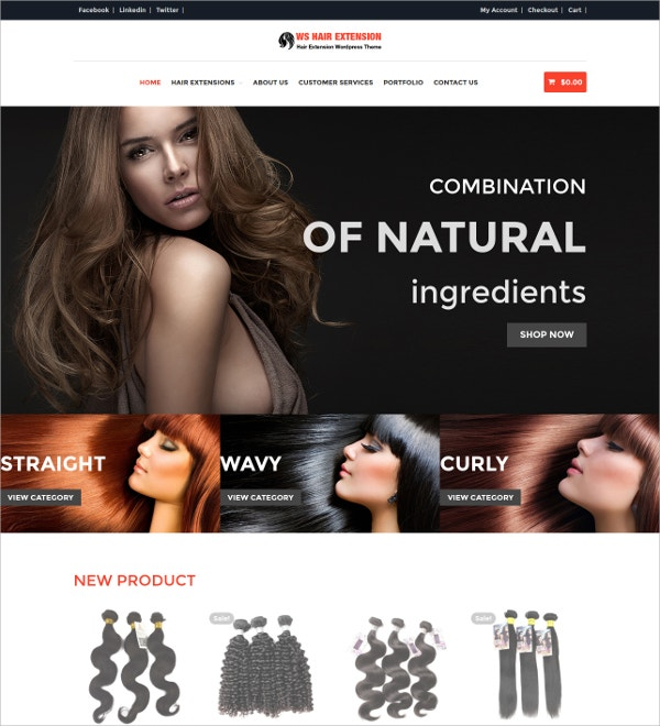 Fashion Hair Mobile WordPress Website Theme $19