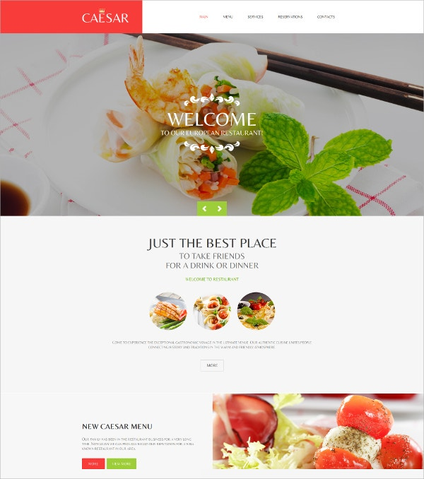 Cafe And Restaurant Mobile HTML Website Template $139