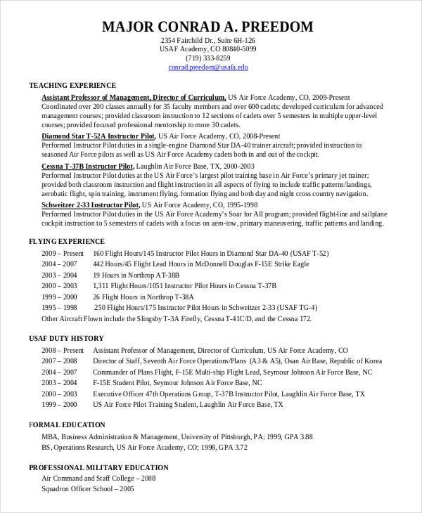 free military cv template resume download pilot word document