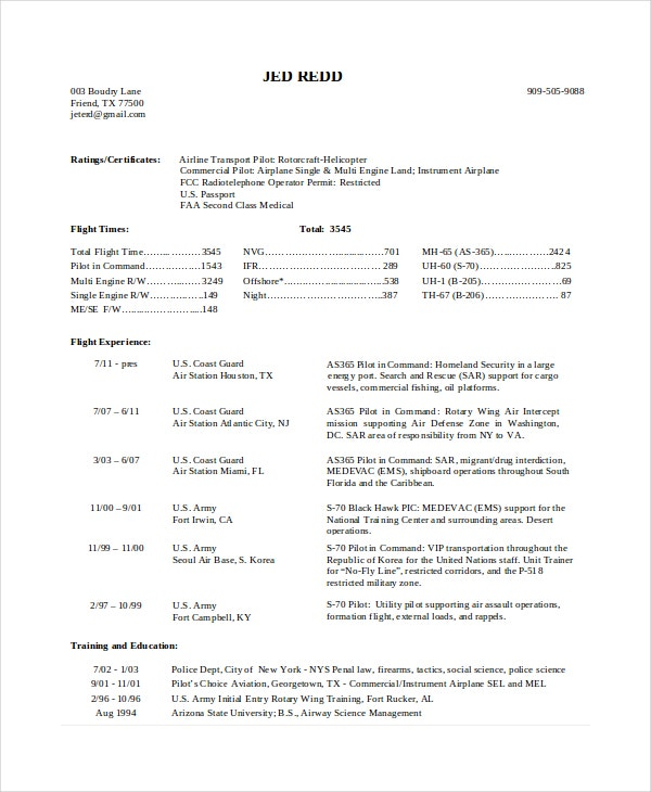 Nice Commercial Pilot Resume On Airline Pilot Resume