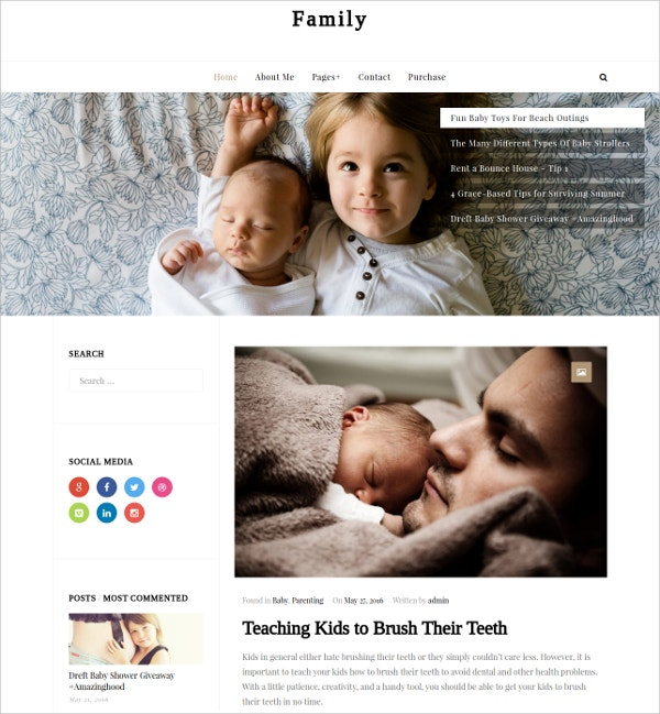 Family WordPress Website Theme For Bloggers $39