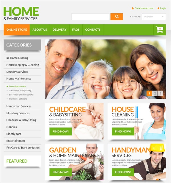 Home Family Services VirtueMart Website Template $139
