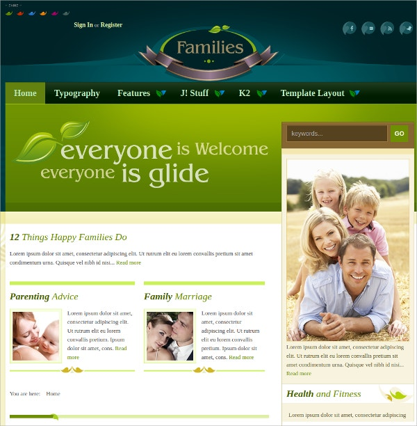 Free Family Joomla Theme