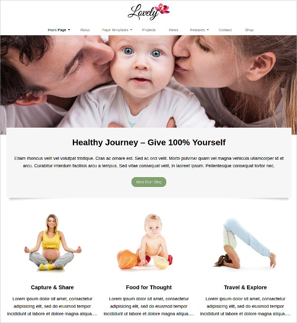 Family Lifestyle WordPress Website Theme $60