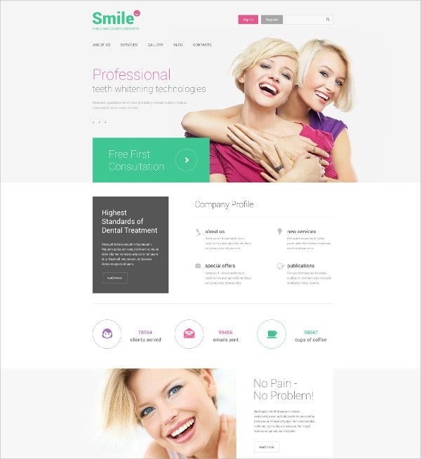 Family Dentistry Drupal Website Template $75