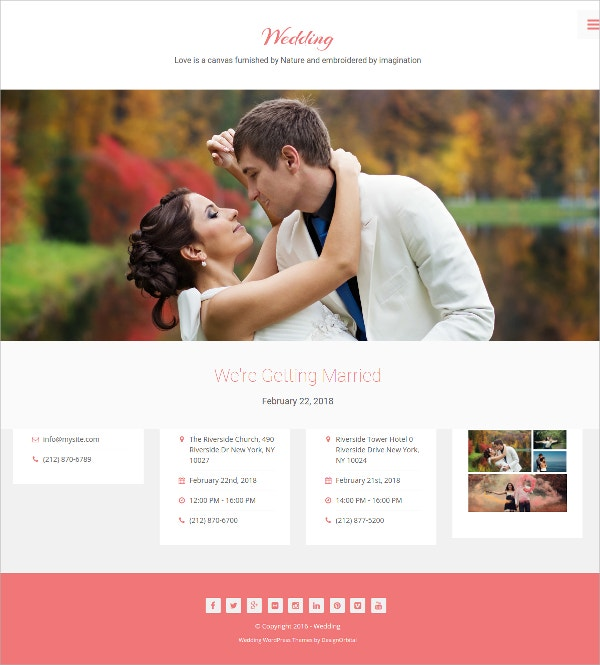 Family Wedding WP Website Theme $75