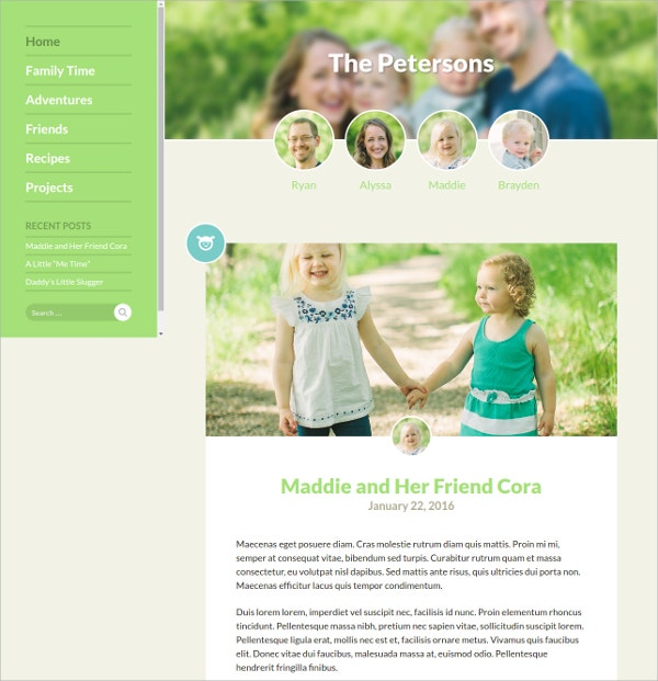 Perfect Family Blog Website Theme